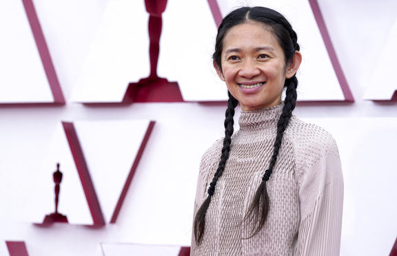 Chloe Zhao attends the 93rd Annual Academy Awards.