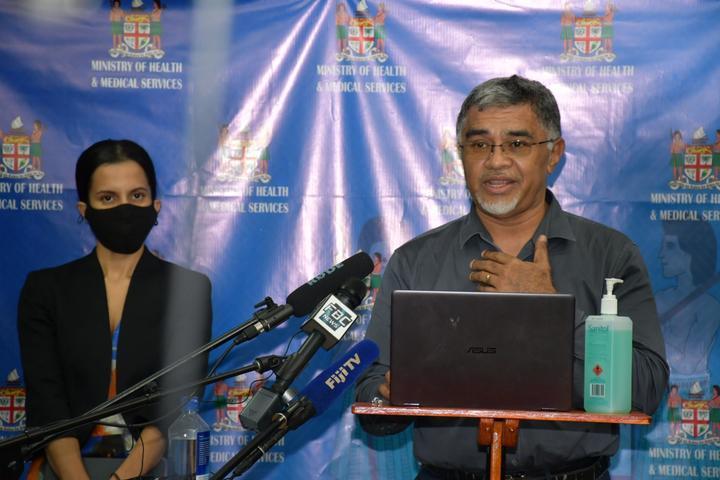 Fiji health officials Dr Aalisha SahuKhan, left, and Dr James Fong.