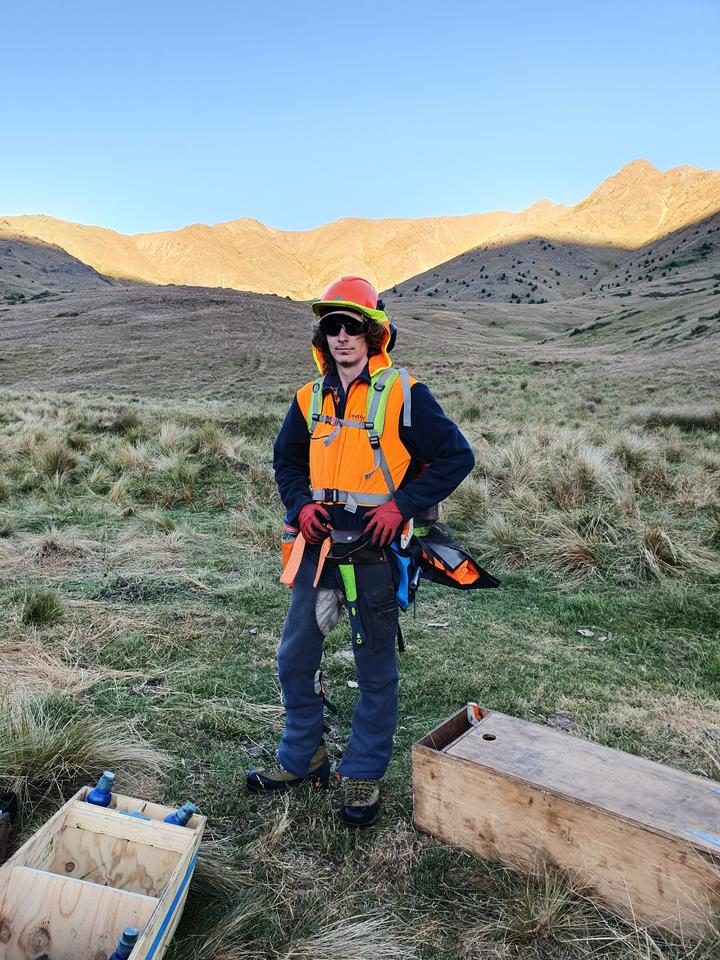 Caleb Saxton is all geared up for a day fighting wilding pines on Molesworth