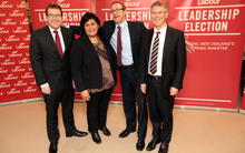 Labour leadership candidates talk to the media. (LR) Grant Robertson, Nanaia Mahuta, Andrew Little, and David Parker