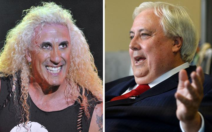 (COMBO) This combination of file photos shows singer Dee Snider (L) of the US hard rock group Twisted Sister performing on stage on August 6, 2010 at the Freewheels site in the French city of Courpiere; and Australian billionaire Clive Palmer (R)