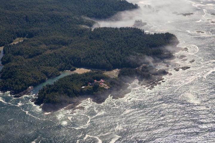 A house on the Pacific Ocean Coast on Vancouver Island, south of Tofino.