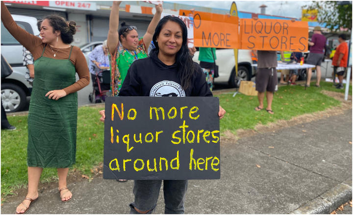Māngere East local Shirl'e Fruean at the March 16 protest.