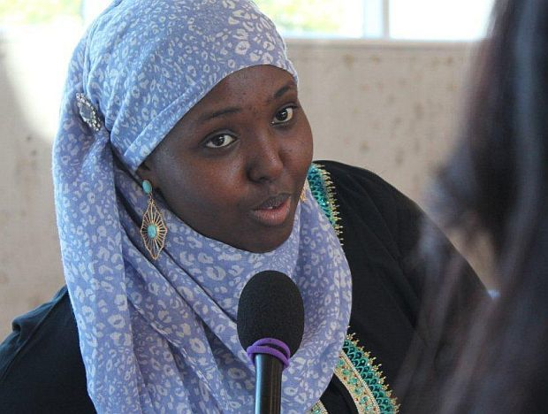 Ayan Said, FGM Educator, Somalian Community is interviewed wearing her hijab