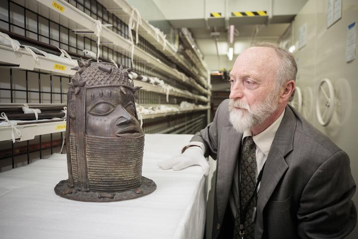 Canterbury Museum Emeritus Curator Roger Fyfe with one of the Benin Bronzes