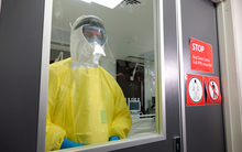 Middlemore Hospital's clinical head of infectious diseases, Stephen McBride, dressed in personal protection gear.