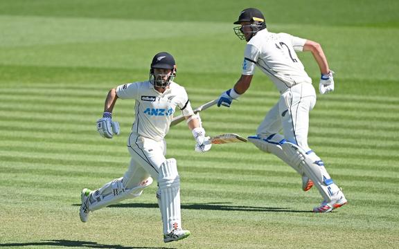Kane WIlliamson (L) and Kyle Jamieson, New Zealand Black Caps v West Indies, Day 2 of the 1st International Cricket Test at Seddon Park, Hamilton on Friday December 4, 2020. Visiting the New Zealand West Indies.  © Copyright photo: Andrew Cornaga / www.photosport.nz