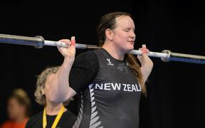 Laurel Hubbard of New Zealand warms up during the IWF Weightlifting World Championships in Anaheim, California, USA on 5 December 2017.
