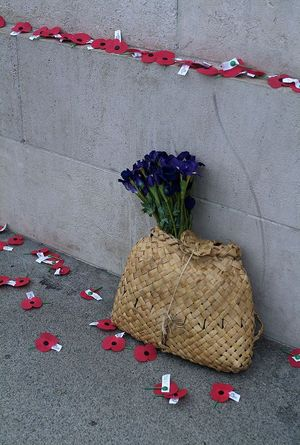 Anzac poppies and a kete