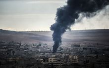 Smoke rises from the Syrian town of Kobane.