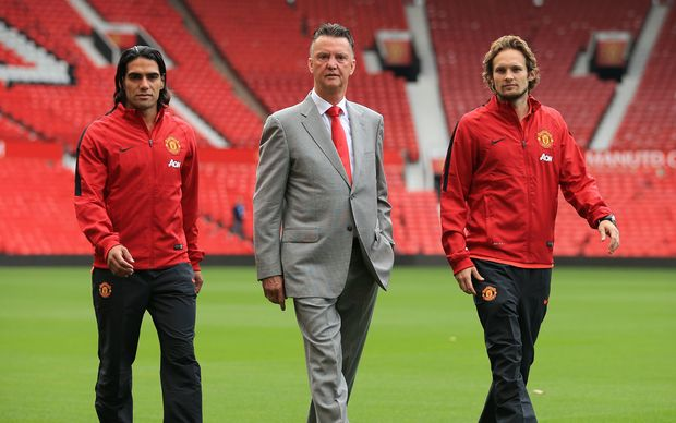 Manchester United's Radamel Falcao, Louis van Gaal and Daley Blind.