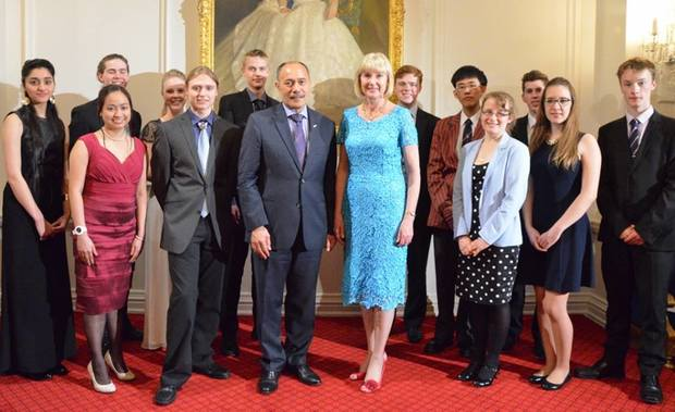 The Governor General, Right Honourable Lieutenant General Sir Jerry Mataparai and Lady Janine Mataparai, with the finalists from the 2014 Eureka Sir Paul Callaghan awards at a ceremony at Government House.