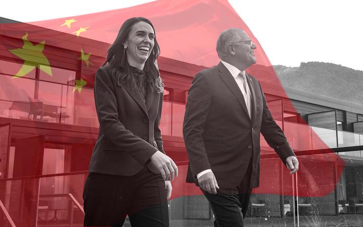 Prime ministers Jacinda Ardern and Scott Morrison.