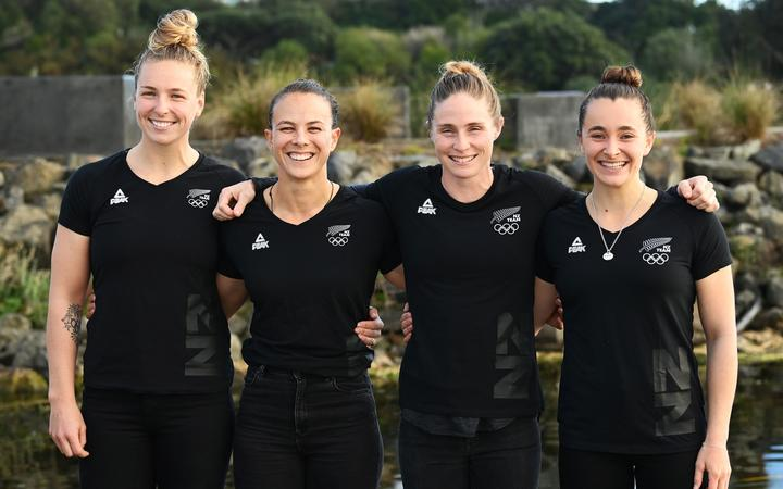 Caitlin Regal, Lisa Carrington, Teneale Hatton and Alicia Hoskin at the naming of the New Zealand women's canoe sprint team for the Tokyo Olympics.