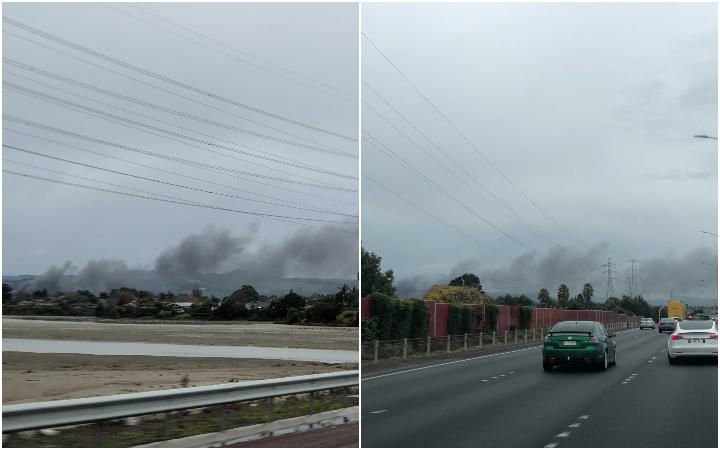 Fire at Papakura car yard in south Auckland, as seen from State Highway 1, south bound