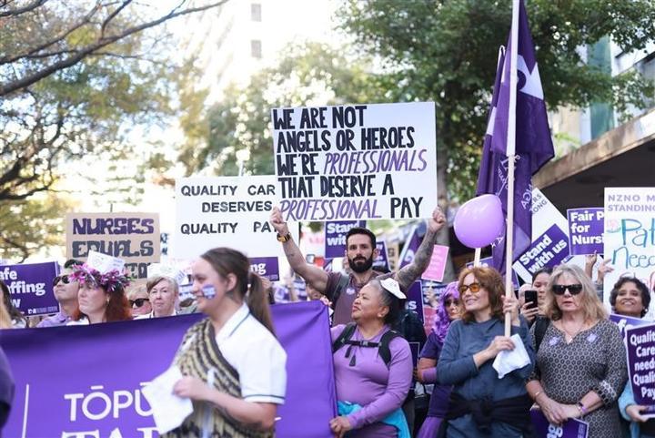 The nurses rally in Wellington on 9 June 2021.