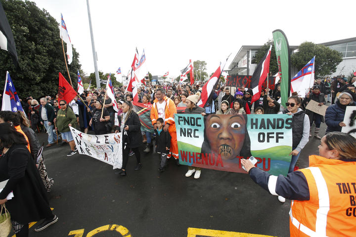 Hikoi marchers, protesting the FNDC's move to introduce SNAs.