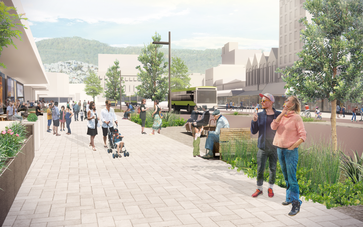 Artist impression (subject to detailed design) of Courtney Place in Wellington.