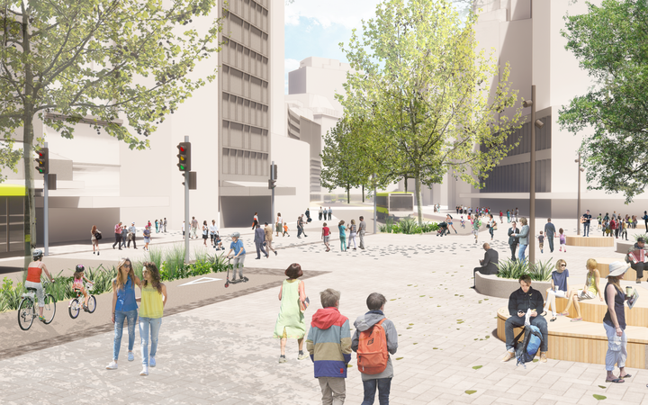 Artist impression (subject to detailed design) of Midland Park in Wellington.
