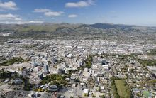 An aerial view of Christchurch shows post-earthquake demolition in progress (November 2012).