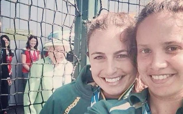 A tweet showing the Queen photobombing athletes at the 2014 Commonwealth Games in Glasgow.