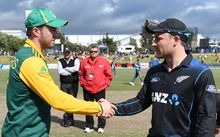 Captain's AB de Villiers and Brendon McCullum. South Africa v New Zealand. 2014.