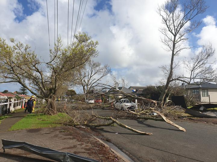 Damage at Freyburg Avenue after a tornado in the Auckland suburb of Papatoetoe.