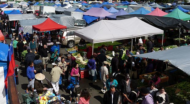 Auckland's Avondale Market creates a tent city on a bright sunny day