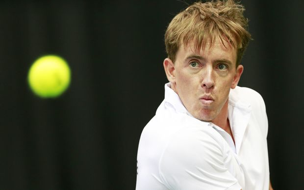 New Zealand tennis player Rubin Statham in action in a Davis Cup tennis tie in Christchurch.