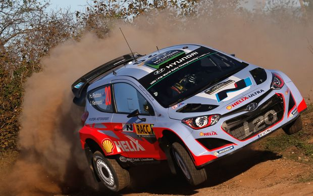 Hayden Paddon cornering in his Hyundai in Spain