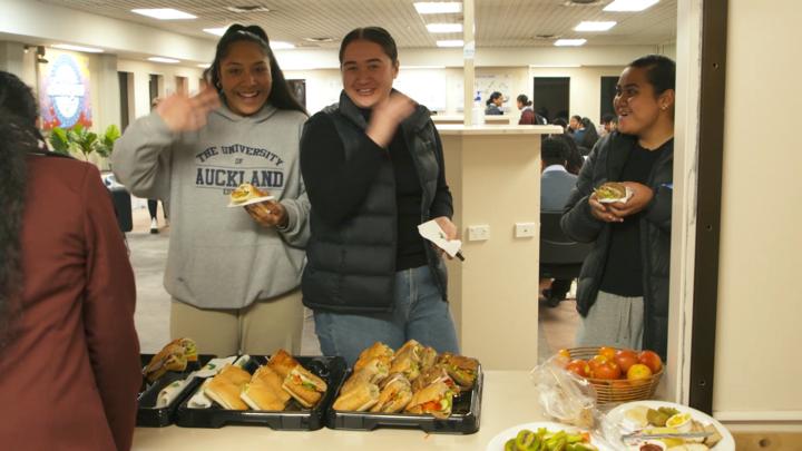 Students grab a snack as they study at Ōtara's Bubblegum youth hub.