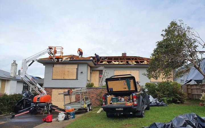 House damaged by tornado on Hayward Road in Papatoetoe, Auckland.