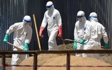 Health workers from the Liberian Red Cross shovel sand to absorb fluids from the bodies of Ebola victims in Monrovia.
