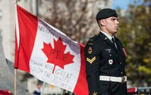 A Canadian soldier standing guard at the National War Memorial during a ceremony there last week.