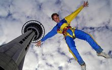 someone bungy jumping off the Sky Tower.