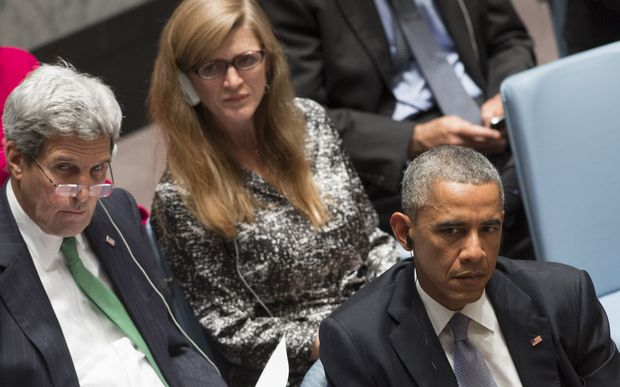 Samantha Power (centre), US Secretary of State John Kerry and President Barack Obama at a UN Security Council meeting.