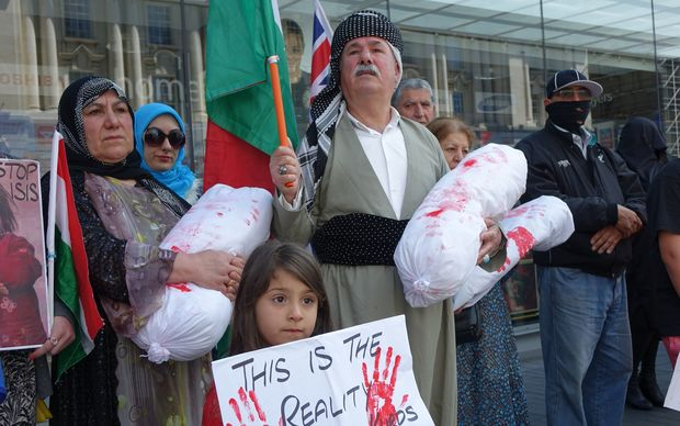 Over 200 members of the Kurdish community took part Saturday's protest in central Auckland.