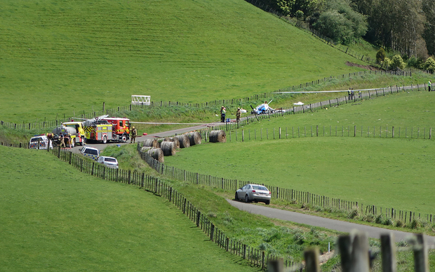 The helicopter came down on a rural road north west of Whanganui.