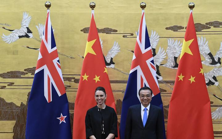 New Zealand Prime Minister Jacinda Ardern (left) and Chinese Premier Li Keqiang at the Great Hall of the People in Beijing on 1 April 2019.