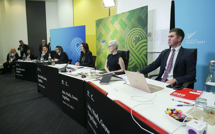 Prime Minister Jacinda Ardern speaks during the APEC Informal Leaders' Retreat at the Majestic Centre on 16 July 2021 in Wellington, New Zealand. As chair of APEC 2021, Ardern hosted the virtual meeting.