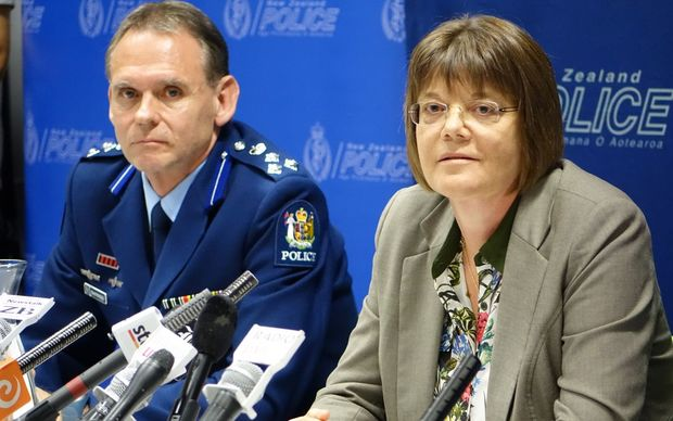Acting Deputy Commissioner Grant Nicholls and Detective Inspector Karyn Malthus at a press conference on the so-called Roastbusters group.
