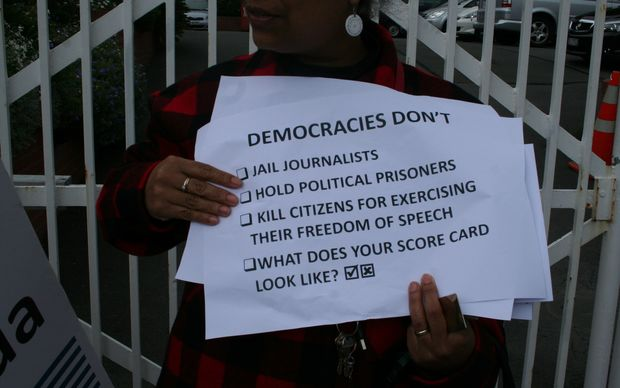 NZ protestors call for media freedom in West Papua, outside Indonesia's embassy in Wellington