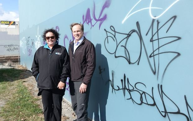 Sharon Wooding from Sunrise Rotary and app developer Bill Johnson are doing their bit to rid the city of graffiti.