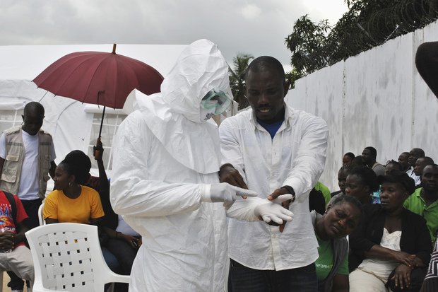 A volunteer health worker being trained at a new Ebola virus treatment center in Monrovia, Liberia, in September.