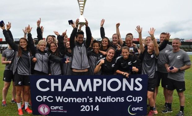 New Zealand Football Ferns hold aloft OFC Women's Nations Cup trophy