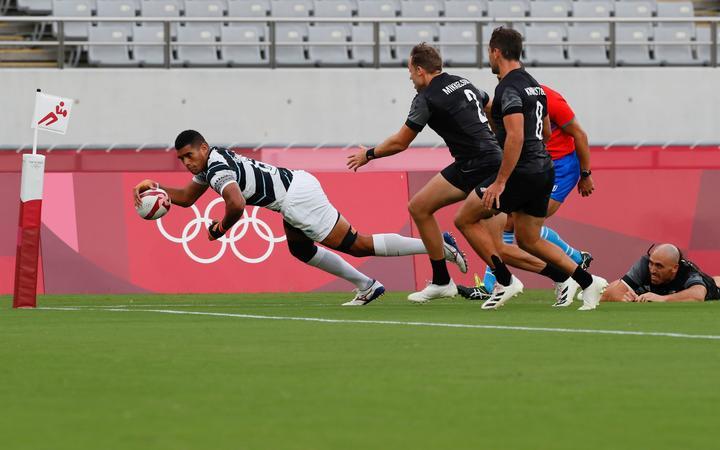 First try of Fiji during New Zealand v Fiji, Tokyo 2020 Olympic Games Rugby Men's Final at Tokyo Stadium, Tokyo, Japan on Manday 28th July 2021. Mandatory credit: @ Kenji Demura / www.photosport.nz