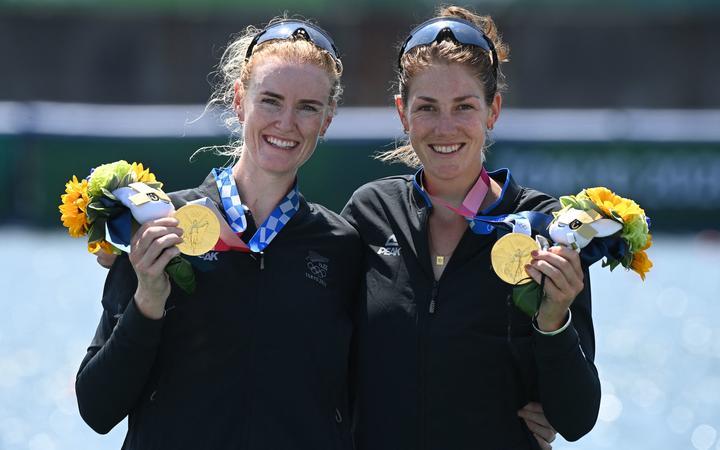Gold medallists Grace Prendergast and Kerri Gowler