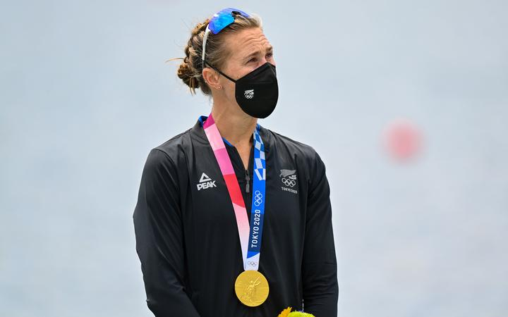 Emma Twigg (NZL) gold medal winner in the women's single scull. Tokyo 2020 Olympic Games Rowing at the Sea Forest Waterway, Tokyo, Japan on Friday 30th July 2021.