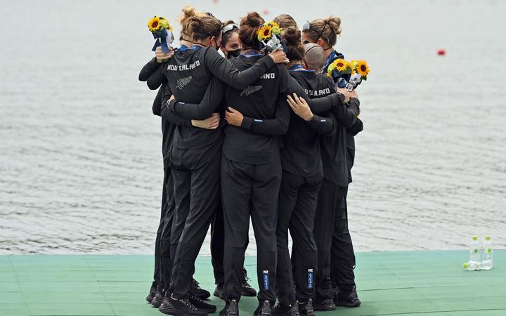 Silver medalists New Zealand women's eight; Ella Greenslade (bow), Emma Dyke, Lucy Spoors, Kelsey Bevan, Grace Prendergast, Kerri Gowler, Beth Ross, Jackie Gowler (stroke) and Caleb Shepherd (cox) Tokyo 2020 Olympic Games Rowing, Tokyo, Japan on Friday 30th July 2021.