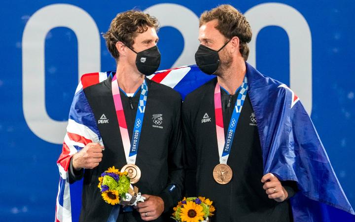 New Zealand's Michael Venus and Marcus Daniell with their Olympic bronze medals at Ariake Tennis Park, Tokyo 2020 Olympic Games. Friday 30 July 2021.
